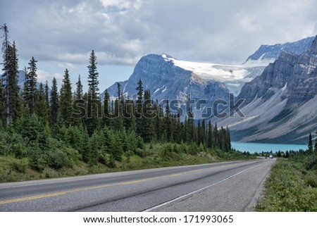 Lake of Canada Rocky Mountains Panorama on cloudy sky - stock photo