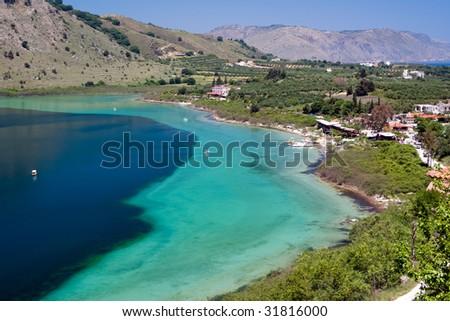 lake of Kournas, Crete, Greece - stock photo