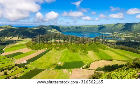 Lake of Sete Cidades from Vista do Rei viewpoint in Sao Miguel, Azores - stock photo