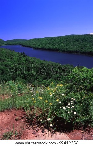 Lake of the Clouds at Porcupine Mountains State Park in northern Michigan - stock photo