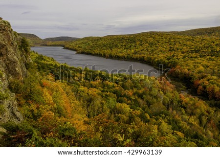 Lake of the Clouds of Michigan's Porcupine Mountains During a Great Autumn Color Season