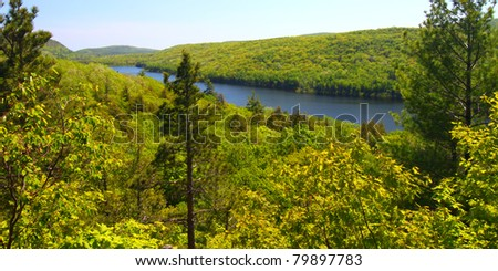 Lake of the Clouds on a beautiful day at Porcupine Mountains State Park in northern Michigan - stock photo