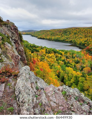 Lake of the clouds , Porcupine Mountains State Park , USA - stock photo