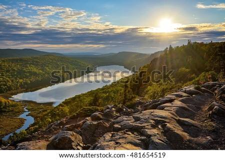 Lake of the Clouds sunset, Porcupine Mountains State park in Upper Michigan