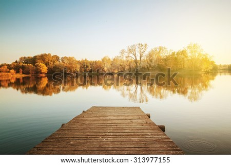 Lake on an autumn day - stock photo