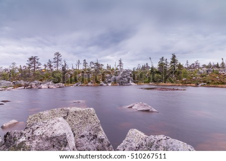 Lake on Mountain of the Vottovaara in Karelia,  Russia