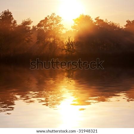 Lake on sunrise - stock photo