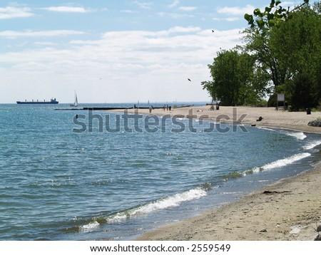 lake ontario beach - stock photo