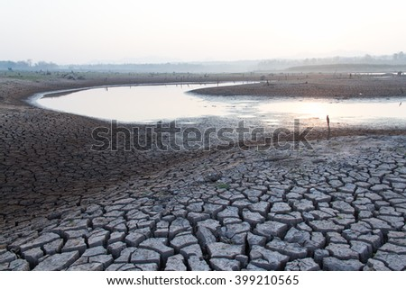 Lake over the blue sky,dry,Detail of the parched earth - stock photo