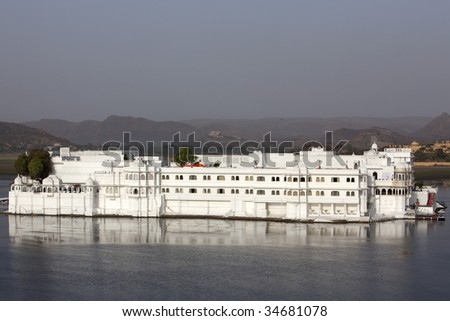 lake palace hotel in beautiful city of Udaipur in rajasthan state in india - stock photo