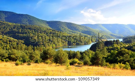 lake panoramic view in bulgarian mountain - stock photo