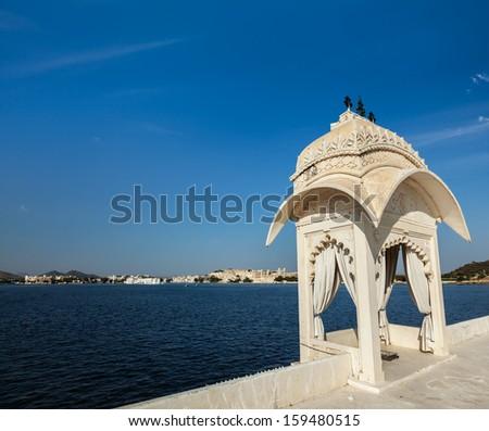 Lake Pichola. Udaipur, Rajasthan, India - stock photo
