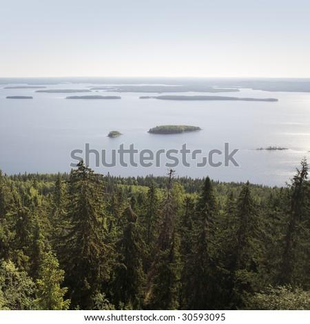 Lake Pielinen photographed in Koli national park, Finland. - stock photo