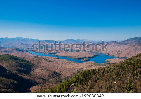 Lake Placid View From Whiteface Mountain - stock photo