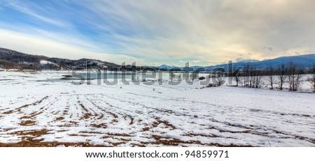 Lake Plastiras winter panorama, Thessaly, Greece - stock photo