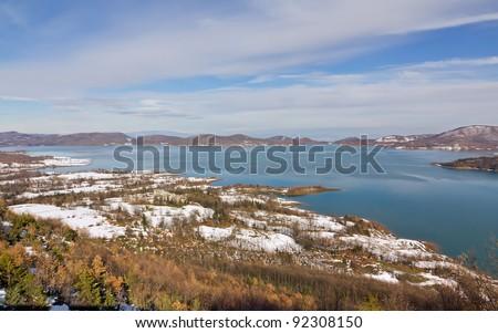 Lake Plastiras winter view, Thessaly, Greece - stock photo