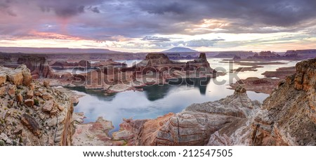 Lake Powell at Dawn, Alstrom point, Glen Canyon National Recreation area. - stock photo
