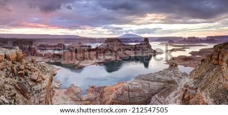 Lake Powell at Dawn, Alstrom point, Glen Canyon National Recreation area. - stock photo