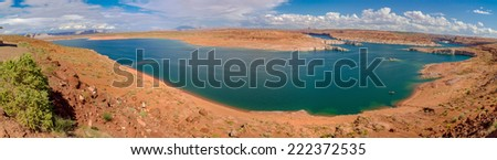 lake powell in bryce canyon national park panorama - stock photo