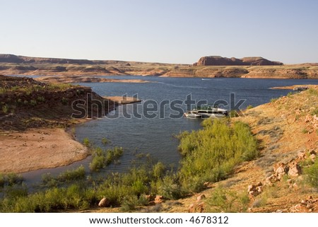 Lake Powell water and desert area in Glen Canyon National Recreation Area Utah