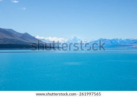 Lake Pukaki, stunning New Zealand scenery, sparkling turquoise water and mountain backdrop - stock image. - stock photo