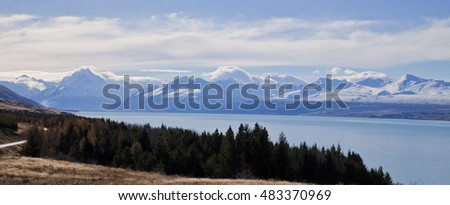 Lake Pukaki with Mt Cook National Park in the background, South Island, New Zealand.
