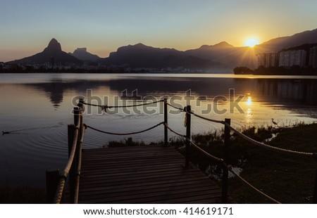 Lake Rodrigo Freitas in Rio de Janeiro, Brazil at sunset - stock photo
