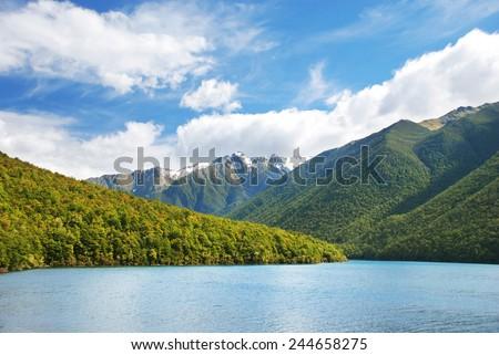 Lake Rotoiti in Nelson lakes National Park, New Zealand - stock photo