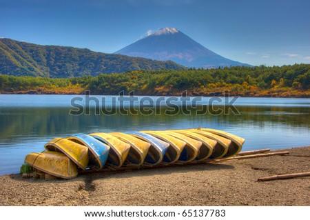 Lake Saiko and Mount Fuji, Yamanashi Prefecture, Japan - stock photo