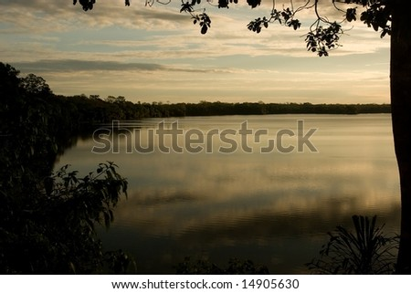 Lake Sandoval is located Tambopata-Candamo which is a nature reserve in the Peruvian Amazon Basin south of the Madre de Dios River - stock photo