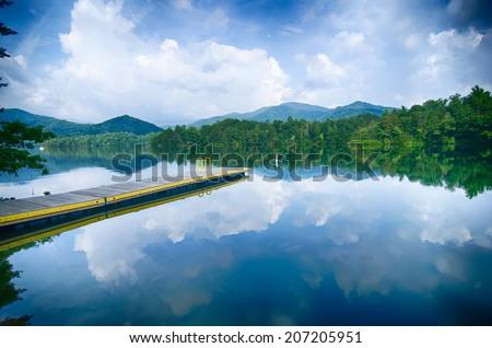 lake santeetlah in great smoky mountains - stock photo