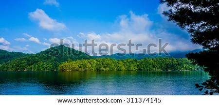 lake santeetlah scenery in great smoky mountains - stock photo