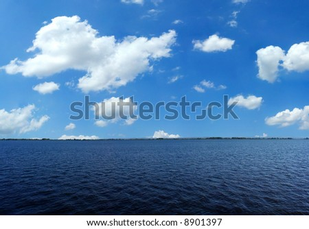 Lake scene during summer - stock photo