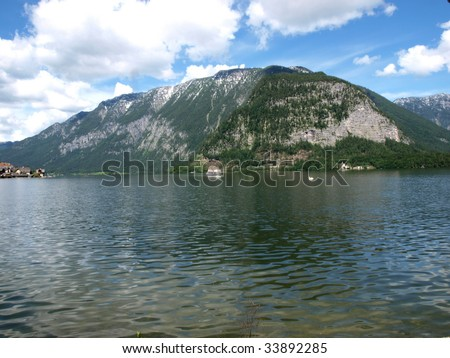 Lake scene in Hallstatt town of Austria.