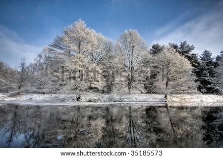 lake scene in winter - stock photo