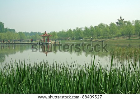 lake scenery,trees by the lake, north china. - stock photo