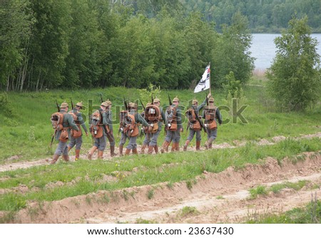 LAKE SENEJ, RUSSIA - MAY 30: Soldiers take part in a WWI military show May 30th, 2008 at Lake Senej, Russia.
