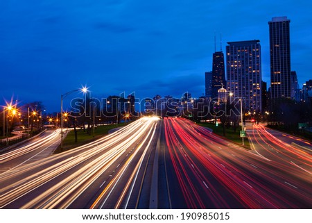 Lake Shore Drive at night Chicago, Illinois - stock photo