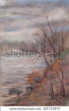 lake shore in early spring forest - stock photo