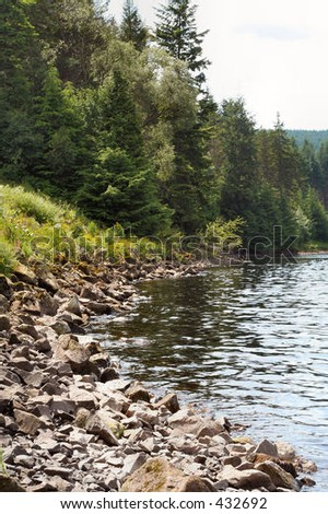 Lake shore in the Scottish Borders, UK - stock photo