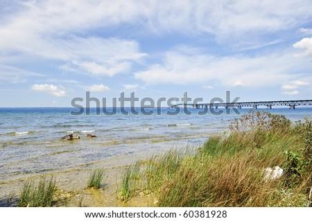 Lake shore of Mackinac - stock photo