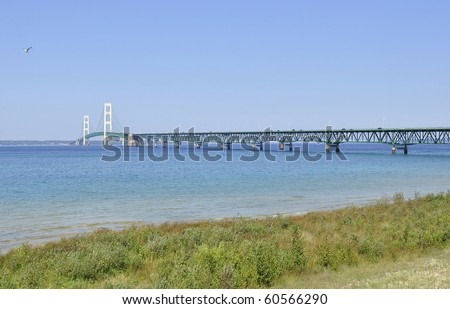 Lake shore of Mackinac and bridge