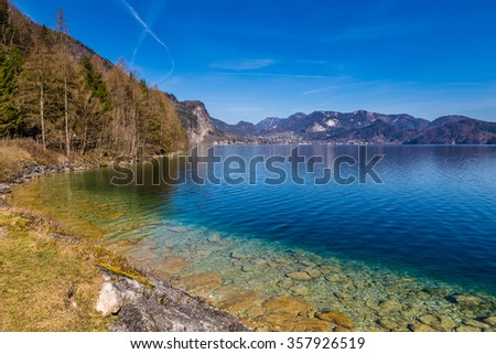 Lake Shore Of Turquoise Wolfgang Lake During Summer Day-Salzkammergut, Austria,Europe - stock photo