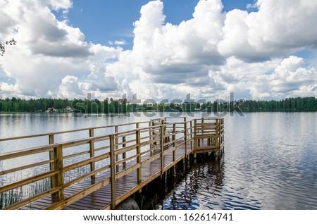 Lake shore. Summer landscape. Finland. - stock photo