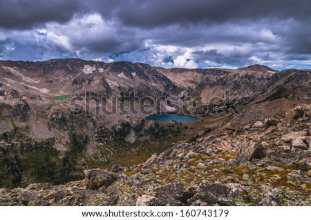 Lake Solitude and Mica as seen from Paintbrush Divide - stock photo