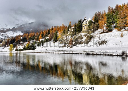 Lake St. Moritz winter - stock photo