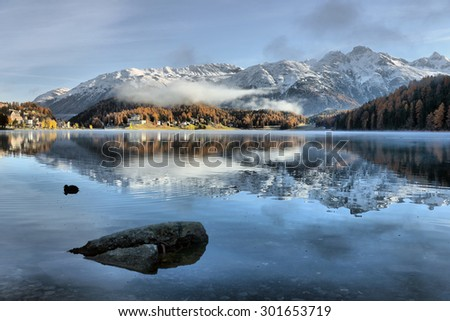 Lake St. Moritz with the first snow in the autumn - stock photo