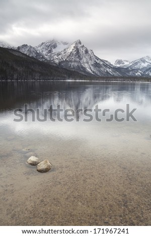 Lake Stanley Idaho Sawtooth Mountain Range Northern Rockies Outdoors - stock photo