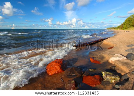 Lake Superior Beach - stock photo