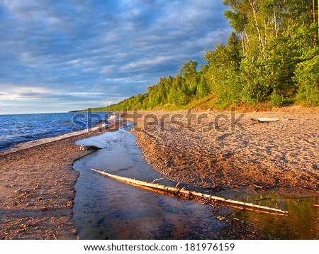 Lake Superior Beach Summer Evening - stock photo